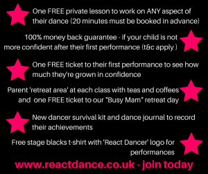 React Dance Academy kenton newcastle childrens dance classes ballet, tap, theatre, jazz, freestyle, youth theatre