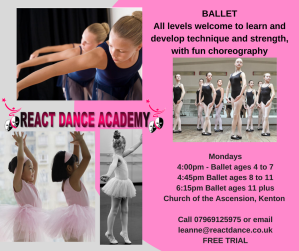 Ballet in Kenton, Gosforth, Newcastle React Dance Academy Mondays