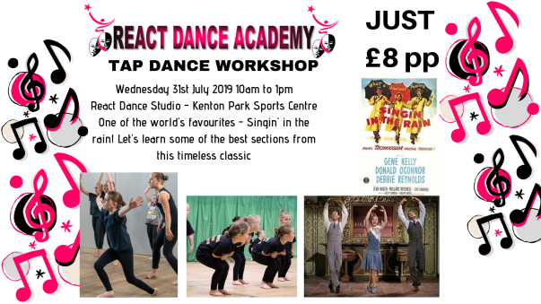tap dance workshop in Kenton, Newcastle based on singin in the rain for children aged 5 to 12